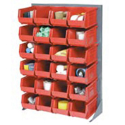 "Louvered Bin Rack With (58) Red Stacking Bins, 35""W x 15""D x 50""H"