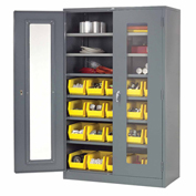 Locking Storage Cabinet Clear Door with (20) Yellow Removable Bins, 48x24x78