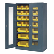 Locking Storage Cabinet Clear Door with (29) Yellow Removable Bins, 48x24x78