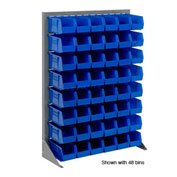 "Louvered Bin Rack With (12) Blue Stacking Bins, 35""W x 15""D x 50""H"