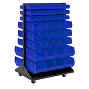 Mobile Double Sided Floor Rack With (48) Blue Bins, 36x25.5x54