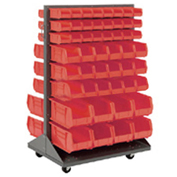 Mobile Double Sided Floor Rack With (48) Red Bins, 36x25.5x54
