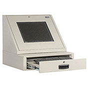 "LCD Console Counter Top Security Computer Cabinet, Gray, 24-1/2""W x 22-1/2""D x 22-1/8""H"