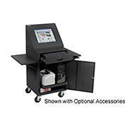 "LCD Mobile Console Computer Cabinet, Black, 24-1/2""W x 22-1/2""D x 55-1/2""H"