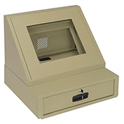 LCD Console Counter Top Security Computer Cabinet, Steel, Putty