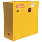 "Flammable Cabinet, 28 Gallon, Manual Close Double Door, 34""W x 18""D x 44""H"