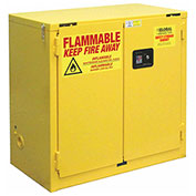 "Flammable Cabinet, 22 Gallon, Self Close Double Door, 34""W x 18""D x 35""H"