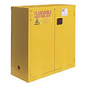 "Flammable Cabinet, 28 Gallon, Self Close Double Door, 34""W x 18""D x 44""H"