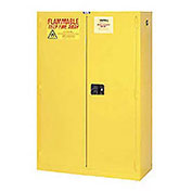"Flammable Cabinet, 44 Gallon, Self Close Double Door, 34""W x 18""D x 65""H"