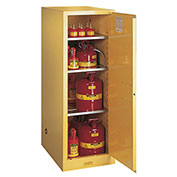 "54 Gallon 1 Door, Manual, Slimline, Flammable Cabinet, 23-1/4""W x 34""D x 65""H, Yellow"