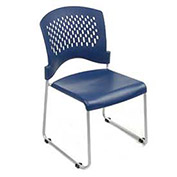 Plastic Stackable Chair, Ventilated Back, Blue - Pkg Qty 4