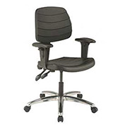 Deluxe Ergonomic Chair With Armrests, Polyurethane, Black