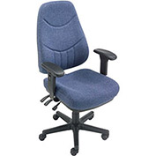 8 Way Adjustable Executive Chair, Fabric, Blue