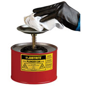 Justrite 1020-8 Safety Plunger Can, 2 Quart Steel