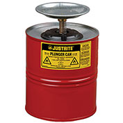 Justrite 10308 Safety Plunger Can, 4 Quart Steel