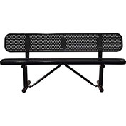 "96"" Bench With Backrest, Surface Mount, Black"