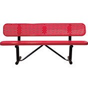 "96"" Bench With Backrest, Surface Mount, Red"