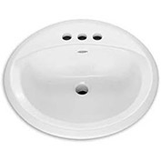 "American Standard Rondalyn 0491.019.020 Countertop Round Sink W/4"" Faucet Holes"