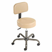 Anti Microbial Vinyl Medical Stool - With Backrest - Beige