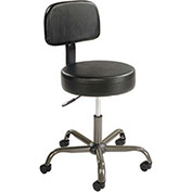 Anti Microbial Vinyl Medical Stool - With Backrest - Black