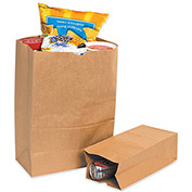 "Kraft Grocery Bags - 12x7x17"" - 1/6 BL Bag - Case of 500"