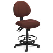 24-Hour Stool Pneumatic Height Adjustment, Burgundy
