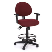 24-Hour Stool Pneumatic Height Adjustment With Armrests , Burgundy