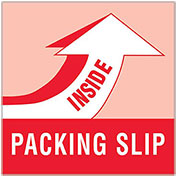 "4"" x 4"" Packing Slip Inside Labels, Red/White, 500 Per Roll"