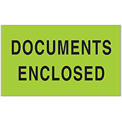 "3"" x 5"" Documents Enclosed Labels, Green, 500 Per Roll"