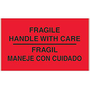 "3"" x 5"" Fragile Handle with Care Bilingual Labels, Fluorescent Red, 500 Per Roll"