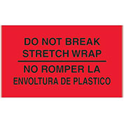 "3"" x 5"" ""Do Not Break Stretch Wrap"" Bilingual Labels, Fluorescent Red, 500 Per Roll"