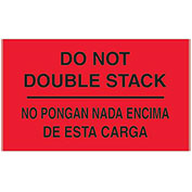 "3"" x 5"" ""Do Not Double Stack"" Bilingual Labels, Fluorescent Red, 500 Per Roll"