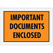 "5-1/4""x7-1/2"" Orange Important Documents Enclosed, Full Face, 1000 Pack"