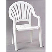 Fanback Stacking Outdoor Armchair - White - Pkg Qty 4
