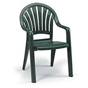 Fanback Stacking Outdoor Armchair - Green - Pkg Qty 16