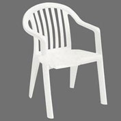 Resin Lowback Stacking Outdoor Armchair - White - Pkg Qty 16