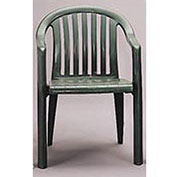 Resin Lowback Stacking Outdoor Armchair - Green - Pkg Qty 16