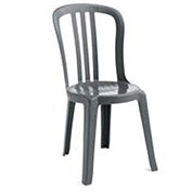 Miami Bistro Resin Stacking Outdoor Sidechair Charcoal - Pkg Qty 4