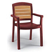Aquaba Stacking Dining Armchair 2-Tone Woodgrained - Burgundy - Pkg Qty 12