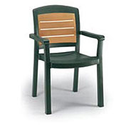 Aquaba Stacking Dining Armchair 2-Tone Woodgrained - Green - Pkg Qty 12
