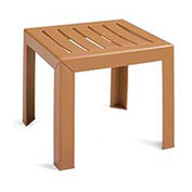 Outdoor End Table With Wood Slat Pattern - Teakwood