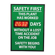 NMC DSB3 Digital Safety Scoreboard Sign - Safety First, This Plant, Lost Time