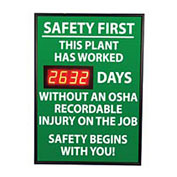 NMC DSB6 Digital Safety Scoreboard Sign - Safety First, This Plant, OSHA