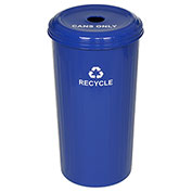 Round Steel Blue Recycling Container & Lid, Blue, 20 Gallon