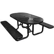 "72"" Oval Picnic Table, Perforated Metal, Surface Mount, Black"
