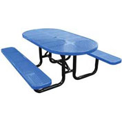 "72"" Oval Picnic Table, Perforated Metal, Surface Mount, Blue"