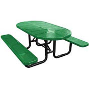 "72"" Oval Picnic Table, Perforated Metal, Surface Mount, Green"