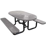 "72"" Oval Picnic Table, Perforated Metal, Surface Mount, Gray"