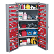 Bin Cabinet With 96 Door Red Bins, Assembled, 38x24x72