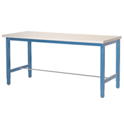 "Production Workbench - Plastic Laminate Square Edge -Blue, 72""W x 24""D"